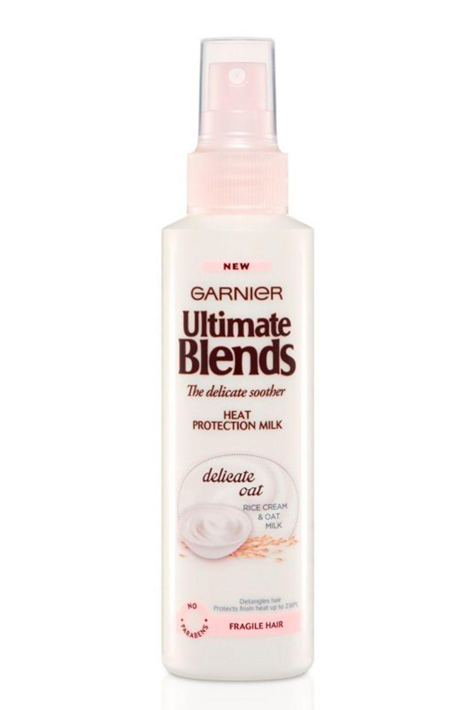 "<p><strong>B</strong><strong>est for: Weak hair that breaks easily</strong></p><p>Garnier's Ultimate Blends Heat Protection Milk has a non-greasy, milky formula that gives hair a softness without weighing it down. The nourishing oat extract provides a silkiness to parched strands and makes quick work of brushing and blow-drying. </p><p>Not only is it ace for snap-prone tresses, but it's also purse-friendly. Win, win.</p><p><strong>Price:</strong> £4.98</p><p><a class=""link rapid-noclick-resp"" href=""http://www.feelunique.com/p/Garnier-Ultimate-Blends-Delicate-Smoother-Heat-Protect-Milk-150ml"" rel=""nofollow noopener"" target=""_blank"" data-ylk=""slk:buy now"">buy now</a><br></p>"