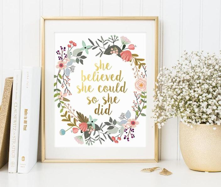 <p>We adore this <span>Floral Quote Print</span> ($6).</p>