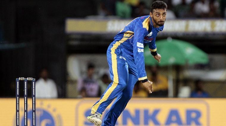 Varun Chakravarthy in action for the Siechem Madurai Panthers in the TNPL