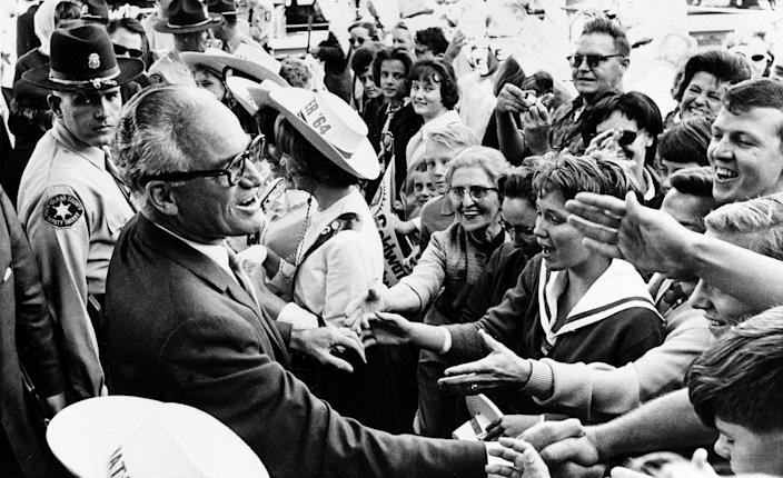 """<span class=""""caption"""">In the early 1960s, Barry Goldwater, a Republican U.S. senator from Arizona, called for the GOP to adopt racist principles.</span> <span class=""""attribution""""><a class=""""link rapid-noclick-resp"""" href=""""https://newsroom.ap.org/detail/GOLDWATERCAMPAIGN1962/019c4c3a37e9da11af9f0014c2589dfb/photo"""" rel=""""nofollow noopener"""" target=""""_blank"""" data-ylk=""""slk:AP Photo/Henry Burroughs"""">AP Photo/Henry Burroughs</a></span>"""
