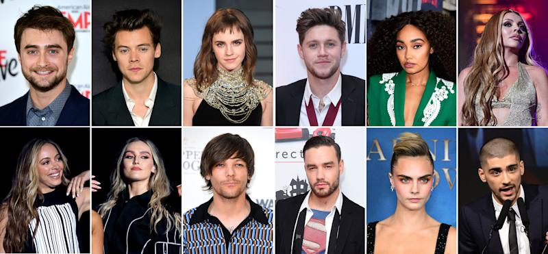 Undated composite file photos of (top row left to right) Daniel Radcliffe, 30, Harry Styles, 25, Emma Watson, 29, Niall Horan, 26, Little Mix member Leigh-Anne Pinnock, 28 and Little Mix member Jesy Nelson, 28. (Bottom row left to right) Little Mix member Jade Thirlwall, 26, Little Mix member Perrie Edwards, 26, Louis Tomlinson, 27, Liam Payne, 26, Cara Delevingne, 27 and Zayn Malik, 26. They are in the top 10 UK's wealthiest stars aged 30 and under, (in order from second wealthiest to number 10), with Daniel Radcliffe at number two with an estimated wealth of ??90 million, Little Mix members who are in sixth place, having a combined worth of ??50 million, and Zayn Malik at number 10 worth ??38 million.