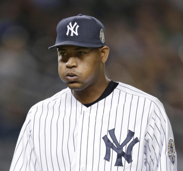 New York Yankees' Ivan Nova puffs out his cheeks while stepping off the mound in the third inning of a baseball game against the Tampa Bay Rays, Thursday, Sept. 26, 2013, in New York. (AP Photo/Kathy Willens)