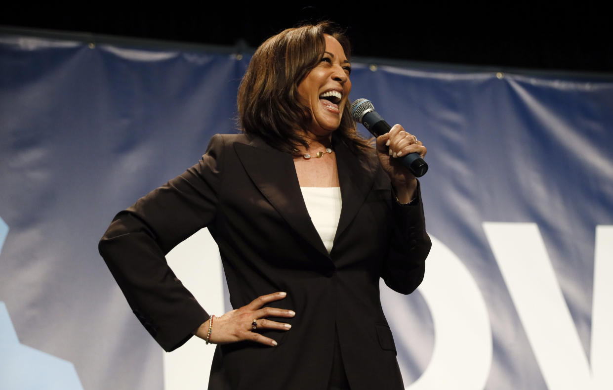 Kamala Harris at the Iowa Democratic Party's Hall of Fame Celebration last month in Cedar Rapids. (Photo: Charlie Neibergall/AP)