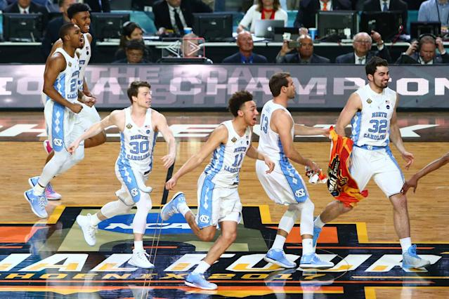 <p>North Carolina Tar Heels forward Shea Rush (11) and his teammates react after the game against the Gonzaga Bulldogs in the championship game of the 2017 NCAA Men's Final Four at University of Phoenix Stadium. Mandatory Credit: Mark J. Rebilas-USA TODAY Sports </p>
