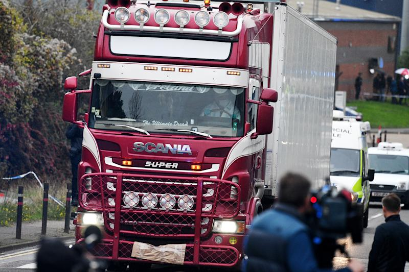 THURROCK, ENGLAND - OCTOBER 23: A lorry in which 39 bodies were discovered in the trailer is driven from the site to a secure location where further forensic investigation can take place, on October 23, 2019 in Thurrock, England. The lorry was discovered early Wednesday morning in Waterglade Industrial Park on Eastern Avenue in the town of Grays. Authorities said they believed the lorry originated in Bulgaria. (Photo by Leon Neal/Getty Images)