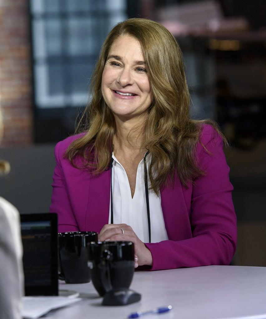 """Melinda Gates, co-chair of the Bill and Melinda Gates Foundation, smiles during a Bloomberg Technology television interview in San Francisco, California, U.S., on Tuesday May 7, 2019. Gates discussed her book """"The Moment of Lift"""" about empowering women in the workplace. Photographer: Michael Short/Bloomberg via Getty Images"""