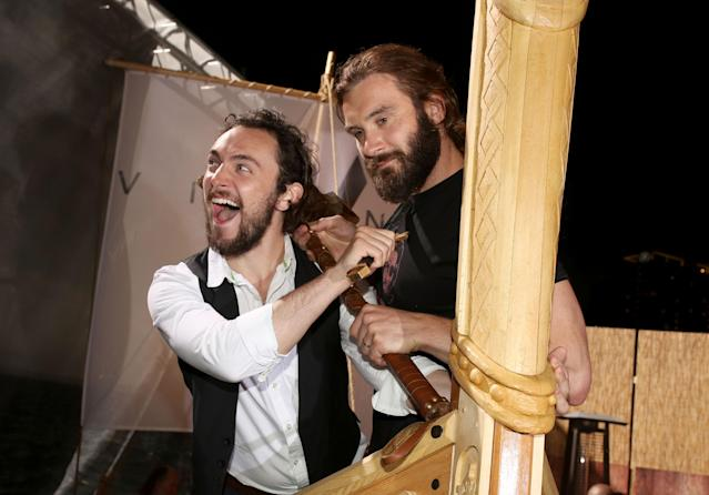 "George Blagden and Clive Standen attend History's ""Vikings"" Party at WIRED Cafe in the Omni Hotel during Comic-Con 2013 on July 19, 2013 in San Diego, California."