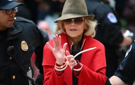 US actress and activist Jane Fonda is arrested at a climate change protest in Washington November 1, 2019