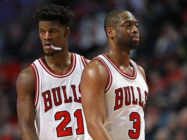"""<a class=""""link rapid-noclick-resp"""" href=""""/nba/players/4912/"""" data-ylk=""""slk:Jimmy Butler"""">Jimmy Butler</a> and <a class=""""link rapid-noclick-resp"""" href=""""/nba/players/3708/"""" data-ylk=""""slk:Dwyane Wade"""">Dwyane Wade</a> separate themselves. (Getty Images)"""
