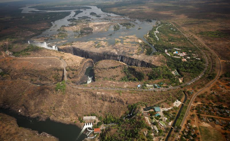 A dry section of the Zambezi river is seen above the gorge on the Zambian side of Victoria Falls