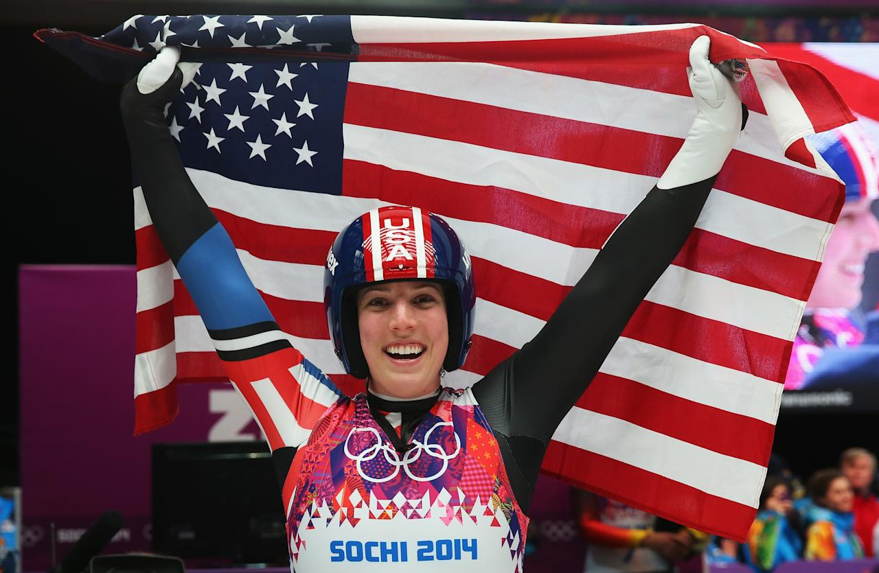 SOCHI, RUSSIA - FEBRUARY 11: Erin Hamlin of the United States celebrates during the Women's Luge Singles on Day 4 of the Sochi 2014 Winter Olympics at Sliding Center Sanki on February 11, 2014 in Sochi, Russia. (Photo by Alexander Hassenstein/Getty Images)