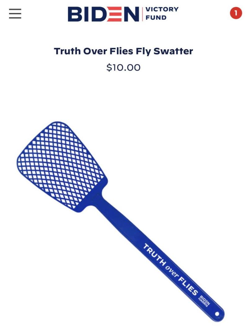 Truth Over Flies fly swatter from Joe Biden's campaign