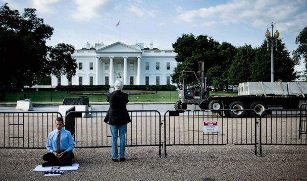 PHOTO: Preparations are made to modify the fence surrounding the White House, July 12, 2019, in Washington, D.C. (Brendan Smialowski/AFP/Getty Images)