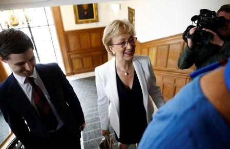 British Conservative Andrea Leadsom arrives at the launch of her campaign for the Conservative Party leadership, in London