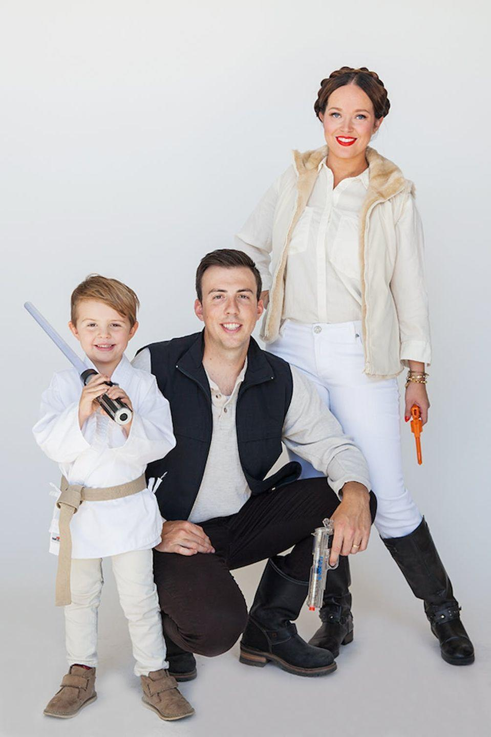 """<p>A not-so-long time ago, in 1977, <em>Episode IV – A New Hope</em> kicked off the beloved George Lucas franchise. Dress the whole family in these '70s <a href=""""https://www.countryliving.com/diy-crafts/g21287723/diy-star-wars-costumes/"""" rel=""""nofollow noopener"""" target=""""_blank"""" data-ylk=""""slk:Star Wars costumes"""" class=""""link rapid-noclick-resp""""><em>Star Wars</em> costumes</a>.</p><p><strong>Get the tutorial at <a href=""""http://sayyes.com/2015/09/halloween-family-costumes-star-wars"""" rel=""""nofollow noopener"""" target=""""_blank"""" data-ylk=""""slk:Say Yes"""" class=""""link rapid-noclick-resp"""">Say Yes</a>.</strong></p><p><strong><a class=""""link rapid-noclick-resp"""" href=""""https://www.amazon.com/YiZYiF-Martial-Middleweight-Breathe-Training/dp/B07BHNL9PN?tag=syn-yahoo-20&ascsubtag=%5Bartid%7C10050.g.22500148%5Bsrc%7Cyahoo-us"""" rel=""""nofollow noopener"""" target=""""_blank"""" data-ylk=""""slk:SHOP KARATE OUTFITS"""">SHOP KARATE OUTFITS</a></strong></p>"""