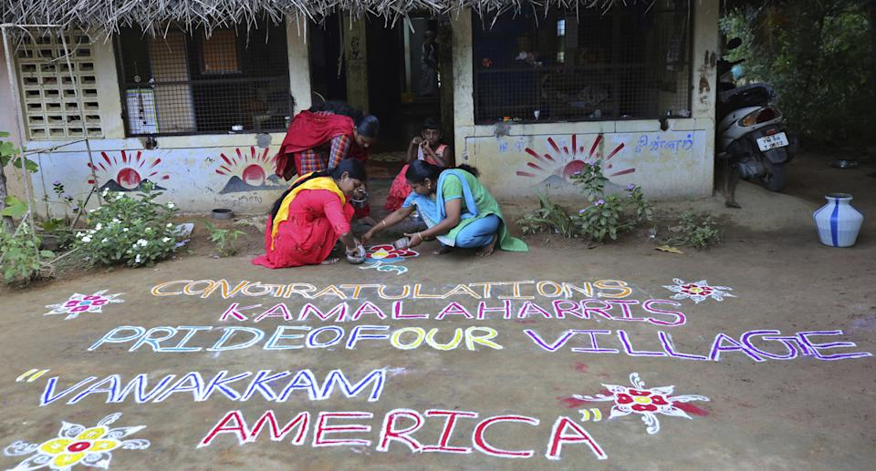 """""""Congratulations Kamala Harris. Pride of our village. Vanakkam (Greetings) America,"""" one resident wrote in outside her residence."""