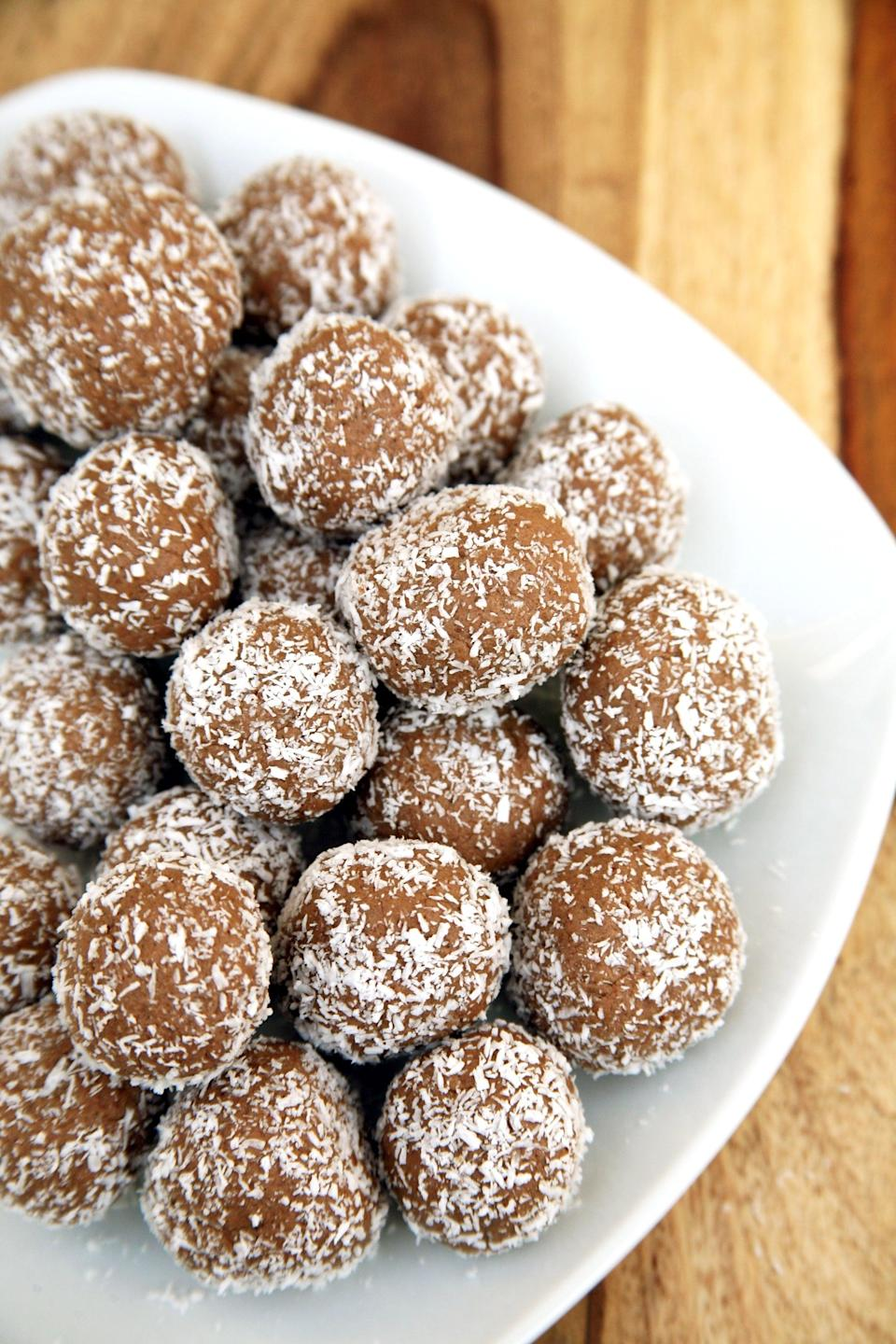 """<p>If you have an obsession with all things chewy and you also have a love affair with chocolate, make these protein balls that taste like Tootsie Rolls.</p> <p><strong>Get the recipe:</strong> <a href=""""https://www.popsugar.com/fitness/Chocolate-Coconut-Protein-Balls-40232548"""" class=""""link rapid-noclick-resp"""" rel=""""nofollow noopener"""" target=""""_blank"""" data-ylk=""""slk:coconut-covered chocolate almond protein balls"""">coconut-covered chocolate almond protein balls</a></p>"""