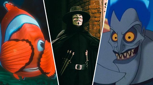 Finding Nemo, V For Vendetta, Hercules.