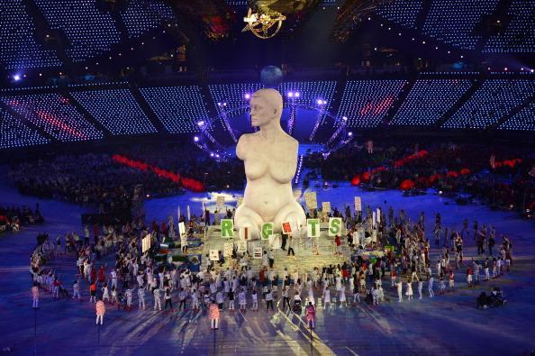 LONDON, ENGLAND - AUGUST 29: A large-scale replica of Marc Quinn's sculpture, 'Alison Lapper Pregnant', emerges from the book stage during the Opening Ceremony of the London 2012 Paralympics at the Olympic Stadium on August 29, 2012 in London, England. (Photo by Justin Setterfield/Getty Images)