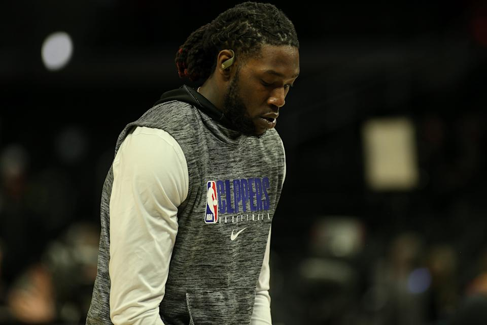 LOS ANGELES, CA - MARCH 08: LA Clippers forward Montrezl Harrell (5) wears Beats wireless headphones before the Los Angeles Lakers versus Los Angeles Clippers on Sunday March 8, 2020, at Staples Center in Los Angeles, CA. (Photo by Jevone Moore/Icon Sportswire via Getty Images)