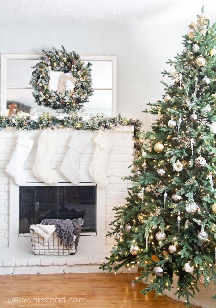 "<p>Use gold, copper, and/or brass ornaments to glam up your tree. You can never add too much shine, right?? Match it to a wreath and garland on your mantel for bonus holiday spirit.</p><p><span>See more at </span><a href=""https://www.yellowblissroad.com/rustic-glam-christmas-tree-mantel/"" rel=""nofollow noopener"" target=""_blank"" data-ylk=""slk:Yellow Bliss Road"" class=""link rapid-noclick-resp"">Yellow Bliss Road</a><span>.</span></p><p><a class=""link rapid-noclick-resp"" href=""https://go.redirectingat.com?id=74968X1596630&url=https%3A%2F%2Fwww.wayfair.com%2Fholiday-decor%2Fpdp%2Fthe-holiday-aisle-christmas-ball-ornament-with-cap-hldy2039.html%3Fpiid%3D18968487&sref=https%3A%2F%2Fwww.housebeautiful.com%2Fentertaining%2Fholidays-celebrations%2Ftips%2Fg505%2Fchristmas-tree-decoration-ideas-pictures-1208%2F"" rel=""nofollow noopener"" target=""_blank"" data-ylk=""slk:SHOP ORNAMENTS"">SHOP ORNAMENTS</a> <em><strong>Gold Ornaments, $39</strong></em></p>"