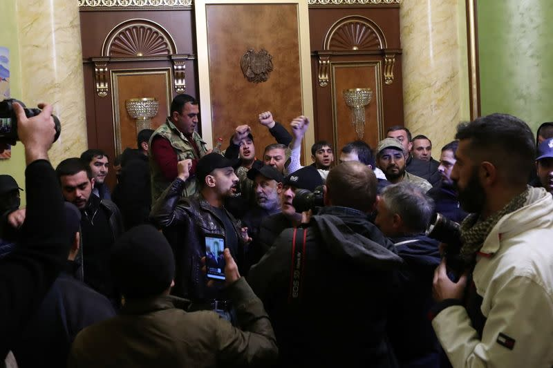 People storm the government house in Yerevan