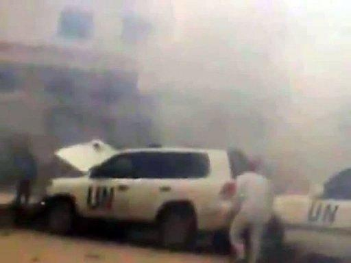 An image grab from video footage uploaded on Youtube allegedly shows a UN observers convoy after a bomb exploded