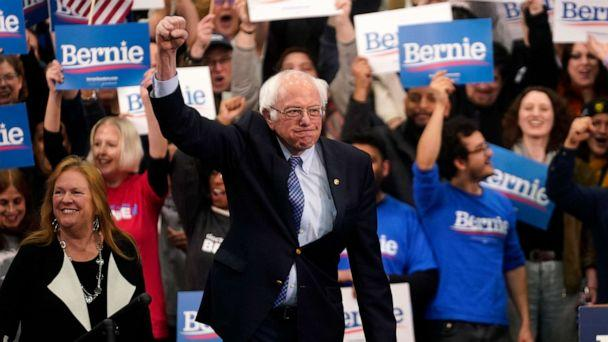 PHOTO: Democratic presidential candidate Sen. Bernie Sanders arrives to speak at his New Hampshire primary night rally in Manchester, N.H., Feb. 11, 2020. (Rick Wilking/Reuters)