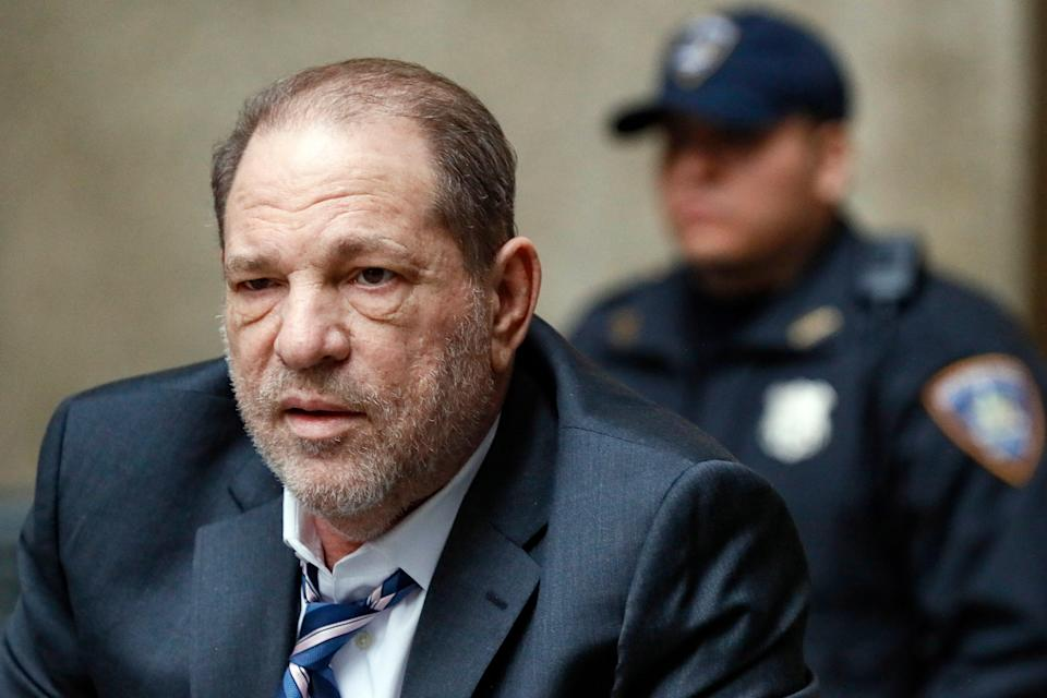 Harvey Weinstein departs a Manhattan courthouse during his sex-crimes trial in New York, Feb. 5, 2020.