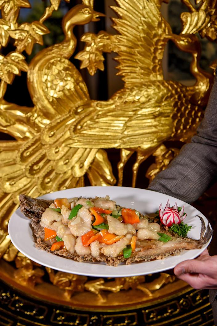Flounder dragon boat for Chinese New Year at Hunan Taste in Denville  on Friday January 29, 2021.