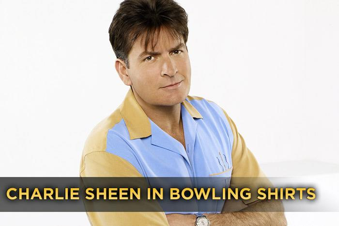 """Before he rebranded himself a """"rock star from Mars"""" with tiger blood and Adonis DNA, most people knew <a href=""""/charlie-sheen/contributor/29262"""">Charlie Sheen</a> as that guy who wore bowling shirts on TV's biggest sitcom, """"<a href=""""/two-and-a-half-men/show/35441"""">Two and a Half Men</a>."""" And so, in an effort to revisit that simpler time — before the goddesses, the """"winning,"""" and whatever the Violent Torpedo of Truth Tour is — we present a gallery full of nothing but Sheen doing what he did best: rockin' a bowling shirt ... usually with a pair of cargo shorts."""