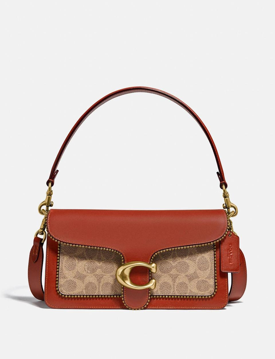 <p>Crafted in refined leather and embellished with gold accents, the <span>Tabby Shoulder Bag</span> ($395) is a compliment magnet.</p>