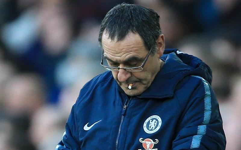 Maurizio Sarri looks to the ground during Chelsea's 2-0 defeat to Everton at Goodison Park - Offside