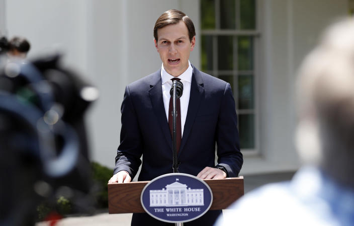 White House senior adviser Jared Kushner speaks to reporters on July 24, after meeting behind closed doors with the Senate Intelligence Committee on the investigation into possible collusion between Russian officials and the Trump campaign. (Photo: Alex Brandon/AP)