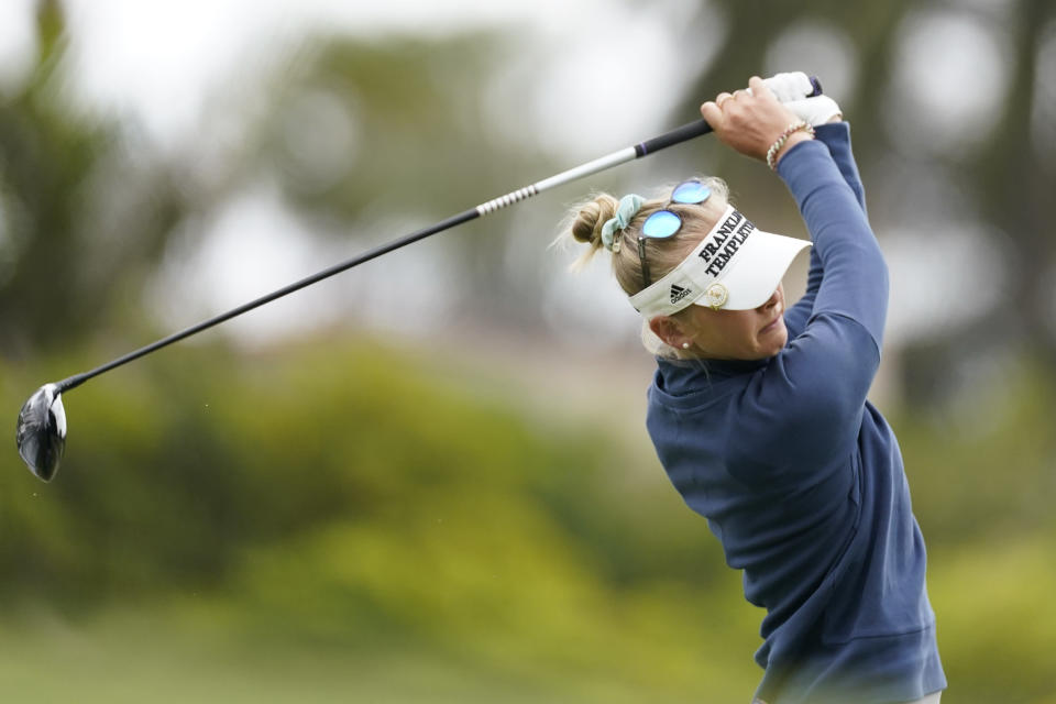 Jessica Korda tees off at the first hole during the first round of the LPGA's Hugel-Air Premia LA Open golf tournament at Wilshire Country Club Wednesday, April 21, 2021, in Los Angeles. (AP Photo/Ashley Landis)
