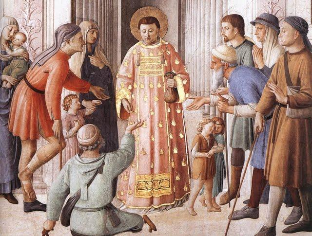 St Lawrence distributing alms.