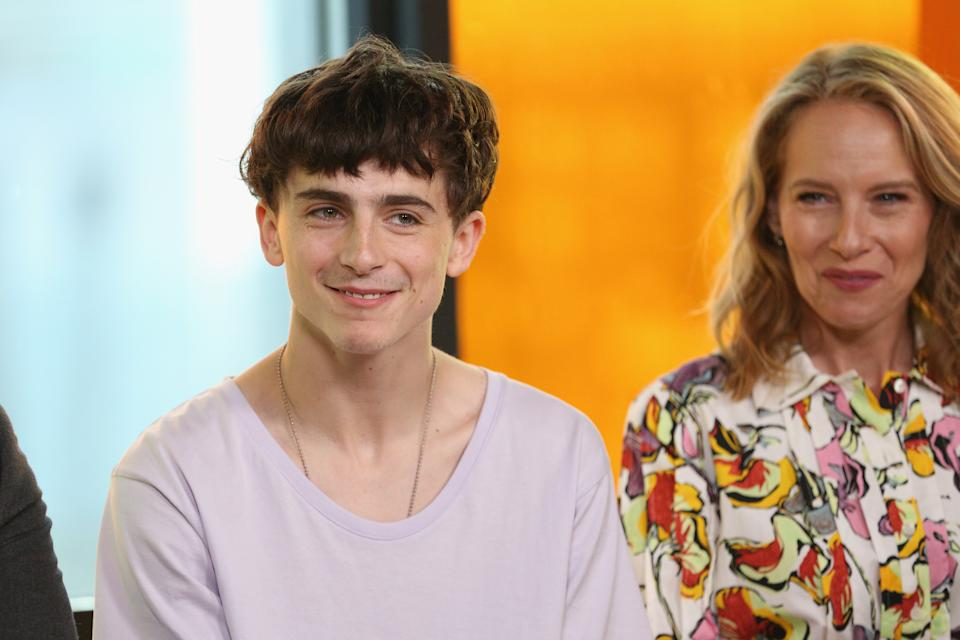 """TORONTO, ON - SEPTEMBER 07:  Timothee Chalamet (L) and Amy Ryan of """"Beautiful Boy"""" attend The IMDb Studio presented By Land Rover At The 2018 Toronto International Film Festival at Bisha Hotel & Residences on September 7, 2018 in Toronto, Canada.  (Photo by Rich Polk/Getty Images for IMDb)"""
