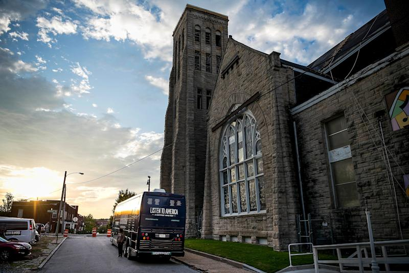 The HuffPost bus sits by Clayborn Temple.