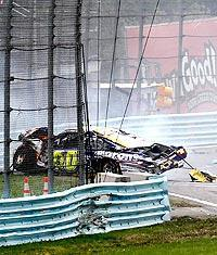 David Reutimann's car ended up a crumpled mess after heavy impact with David Ragan and a retaining wall