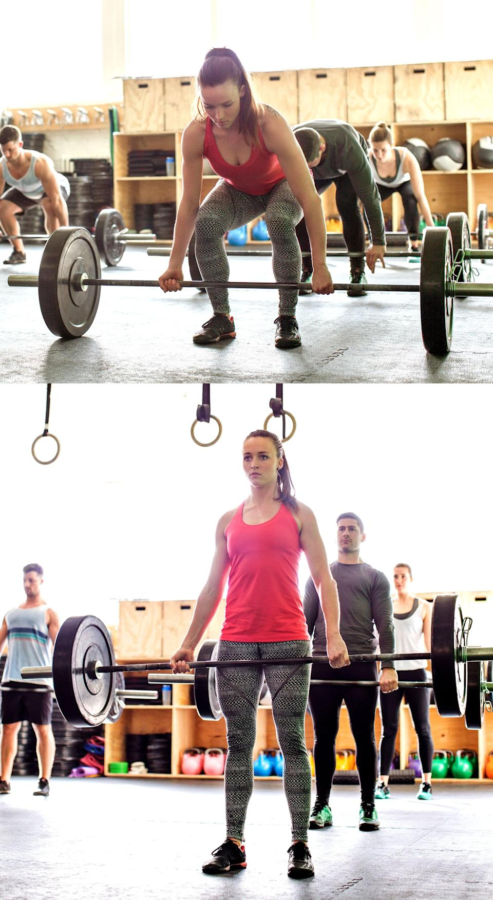 """<p>""""A fantastic, dynamic movement; though it is simple, a deadlift engages your whole body, including all major muscle groups: glutes, hamstrings, quads, and the entire chain of back muscles,"""" said ACE-certified trainer Christian Koshaba, owner of <a href=""""https://www.three60fit.com/"""" class=""""link rapid-noclick-resp"""" rel=""""nofollow noopener"""" target=""""_blank"""" data-ylk=""""slk:Three60Fit"""">Three60Fit</a>. Since the deadlift is a full-body movement, Christian said """"you're inducing a lot more of a hormonal reaction as well as blood pumping to those specific muscles, so you're actually inducing a more escalated heart rate, which leads to increased fat loss.""""</p> <p>If you don't have access to a barbell, you can do <a href=""""https://www.popsugar.com/fitness/photo-gallery/45747578/image/45787769/Dumbbell-Deadlift"""" class=""""link rapid-noclick-resp"""" rel=""""nofollow noopener"""" target=""""_blank"""" data-ylk=""""slk:deadlifts with dumbbells"""">deadlifts with dumbbells</a> or <a href=""""https://www.popsugar.com/fitness/How-Do-Kettlebell-Deadlift-46219715"""" class=""""link rapid-noclick-resp"""" rel=""""nofollow noopener"""" target=""""_blank"""" data-ylk=""""slk:holding a kettlebell"""">holding a kettlebell</a>. Whatever weight you use, focus on form first with light weights, then gradually increase the weight as you're ready.</p> <ul> <li>Stand with your feet hip-distance apart.</li> <li>Push your butt back as you bend your knees, grasping the barbell with your hands just outside the hips, with the shoulders slightly in front of the bar. Have both palms facing you, or if it feels more comfortable (or you're lifting very heavy), turn one palm facing out. Keep your back straight, not curved or arched. Your chest should be parallel with the floor.</li> <li>Stand up, raising the hips and shoulders at the same time, lifting the barbell off the floor so the bar moves over the middle of both feet.</li> <li>Keep the heels down and make sure to fully extend the hips and knees to straighten the legs. This completes one rep.</li> </ul>"""