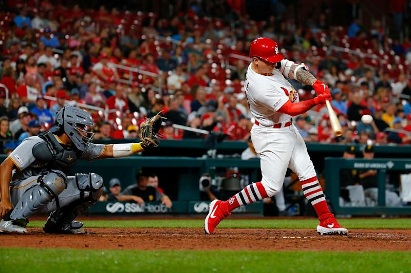 ST LOUIS, MO - JULY 15: Tyler O'Neill #41 of the St. Louis Cardinals hits his second two-run home run of the game against the Pittsburgh Pirates in the seventh inning at Busch Stadium on July 15, 2019 in St Louis, Missouri. (Photo by Dilip Vishwanat/Getty Images)