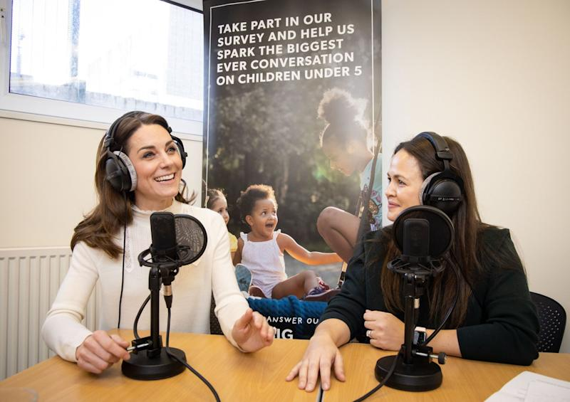 The Duchess of Cambridge talks about parenting with Giovanna Fletcher (PA)