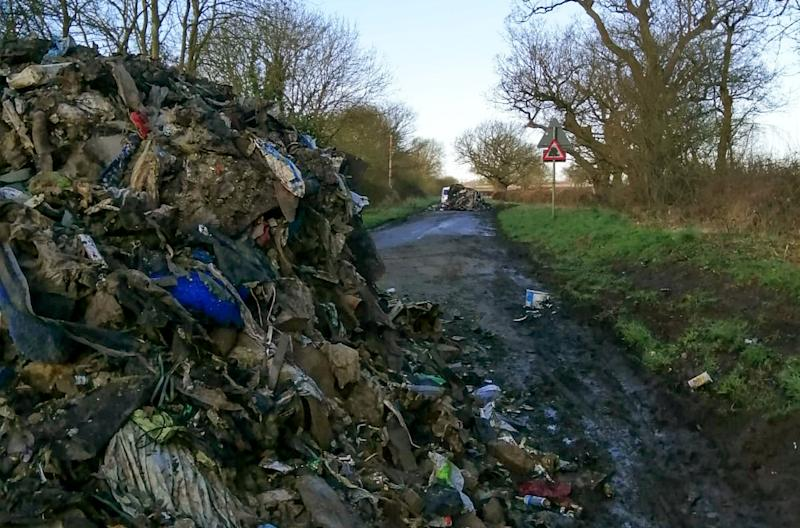 "Furious residents have slammed ""disgusting"" fly-tippers who left a road in Leicestershire impassable (Picture: SWNS)"