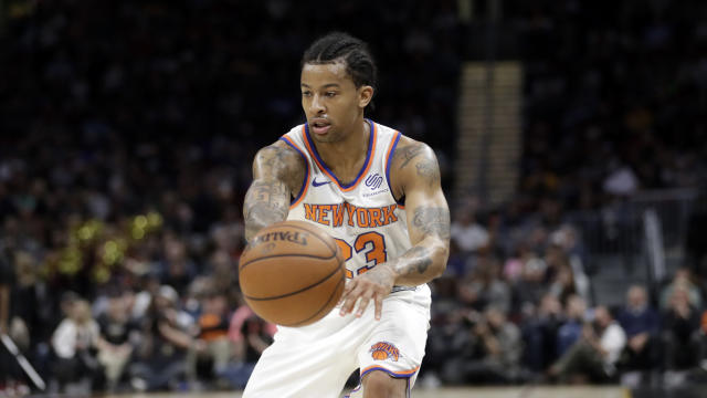 Trey Burke offers a lot of offensive upside, but is stuck in a battle with Frank Ntilikina at the point guard position. (AP Photo/Tony Dejak)