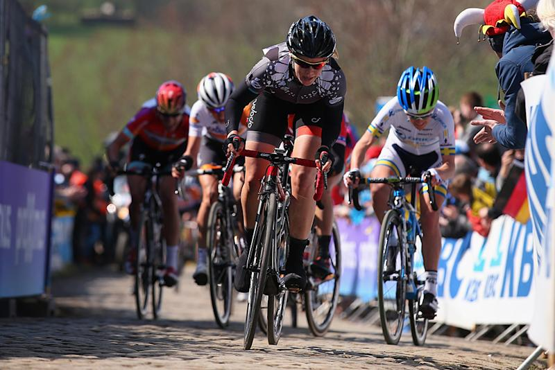 Tayler Wiles of the USA and the Velocio-SRAM team rides up the Paterberg in the 2015 Women's Tour of Flanders