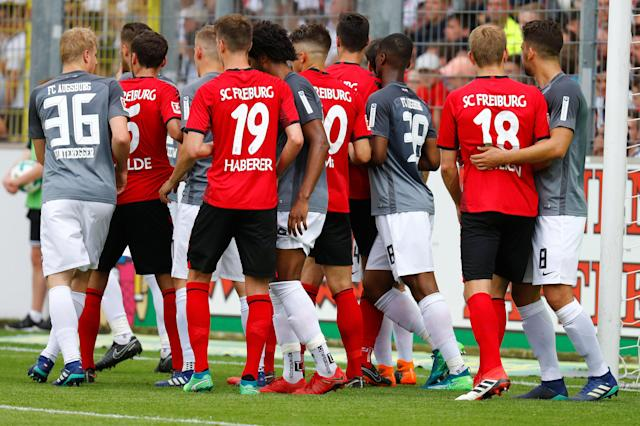 Soccer Football - Bundesliga - SC Freiburg v FC Augsburg - Schwarzwald-Stadion, Freiburg, Germany - May 12, 2018 General view during the match REUTERS/Kai Pfaffenbach DFL RULES TO LIMIT THE ONLINE USAGE DURING MATCH TIME TO 15 PICTURES PER GAME. IMAGE SEQUENCES TO SIMULATE VIDEO IS NOT ALLOWED AT ANY TIME. FOR FURTHER QUERIES PLEASE CONTACT DFL DIRECTLY AT + 49 69 650050