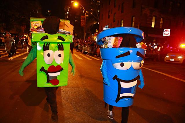 <p>NYC Department of Sanitation costumes are seen at the 44th annual Village Halloween Parade in New York City on Oct. 31, 2017. (Photo: Gordon Donovan/Yahoo News) </p>
