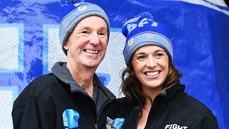Bec Daniher says the effects of motor neurone disease on her father, Neale Daniher, are becoming harder and harder to deal with. (Photo by Quinn Rooney/Getty Images)
