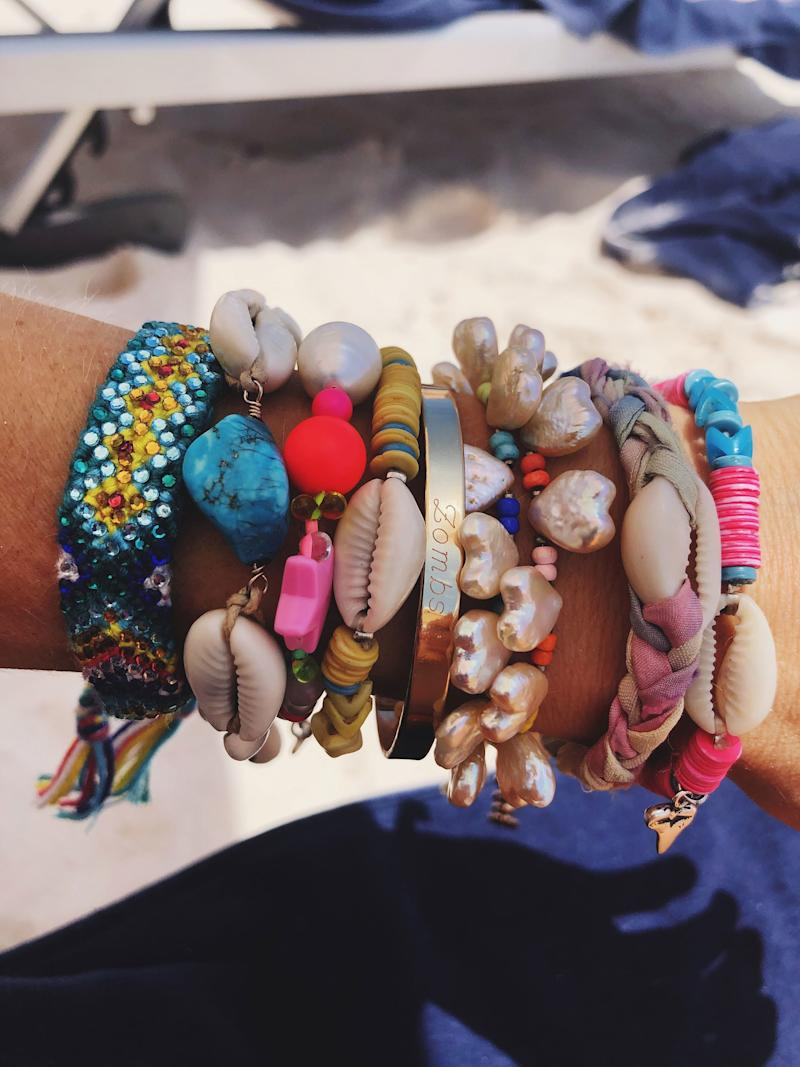 """My Dannijo arm party upon arrival in Harbour Island. Brandon and I call eachother """"Zombs"""" as a nickname,thus the engraving."""