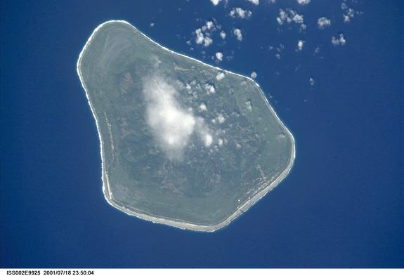 Mangaia island, a volcano in the South Pacific.
